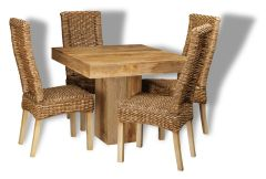 Light Dakota 90cm Cube Dining Table & 4 Rattan Chairs
