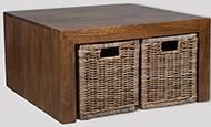 Dakota Coffee Table with 4 Rattan Baskets