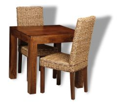 Small Dakota Dining Table & 2 Rattan Chairs