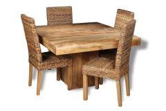 Light Dakota 120cm Cube Dining Table & 4 Rattan Chairs