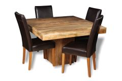 Light Dakota 120cm Cube Dining Table & 4 Barcelona Chairs
