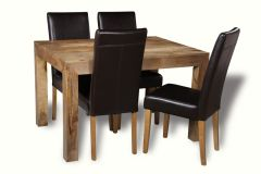 Light Dakota 120cm Dining Table & 4 Leather Chairs