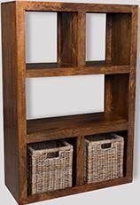 Dakota Open Bookcase with Rattan Baskets