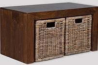 Dakota Coffee Table with 2 Rattan Baskets