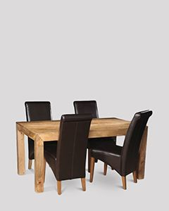 Mango Light 160cm Dining Table & 4 Rollback Chairs
