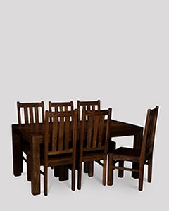 Mango 180cm Dining Table & 6 Dining Chairs