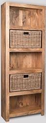 Light Mango Bookcase with Rattan Wicker Baskets