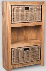 Light Mango Medium Shelves and Rattan Wicker Baskets