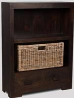 Mango Small Bookcase with Rattan Wicker Basket