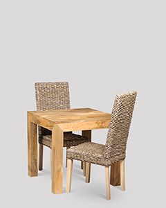 Light Dakota 80cm Dining Table & 2 Rattan Dining Chairs
