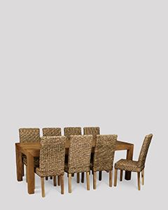 Dakota Light 220cm Dining Table & 8 Rattan Dining Chairs