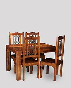 Small Cuba Dining Table and 4 Jali Dining Chairs
