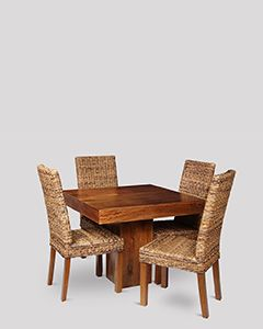 Small Dakota Cube Dining Table & 4 Havana Rattan Chairs