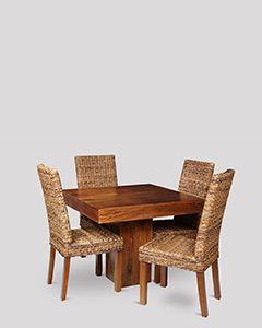 Small Dakota Cube Dining Table & 4 Havana Rattan Chairs