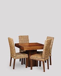 Small Dakota Cube Dining Table & 4 Rattan Dining Chairs