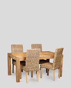 Dakota Light 160cm Dining Table & 4 Rattan Dining Chairs
