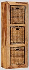 Cube Light 3 Hole Storage Cube with Rattan Baskets