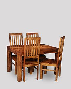 Small Cuba Dining Table and 4 Jali High Back Slat Chairs