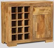 Light Mango Wine Rack Cabinet