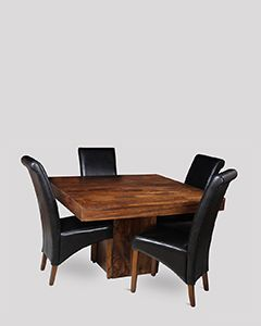 Mango 120cm Cube Dining Table & 4 Rollback Chairs