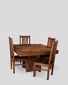 Dakota Cube Dining Table & 4 Dakota Chairs