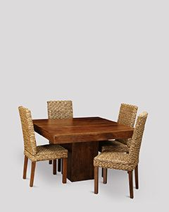 Dakota Cube Dining Table & 4 Rattan Dining Chairs