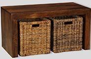 Dakota Coffee Table with Rattan Baskets