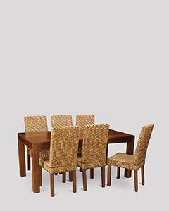 Dakota 180cm Dining Table & 6 Rattan Chairs