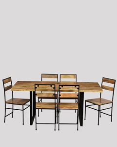 180cm Industrial Dining Table & 6 Industrial Chairs
