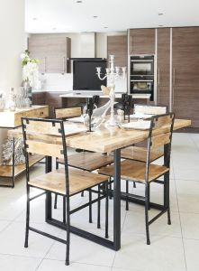 Industrial 140cm Dining Table & 4 Industrial Chairs