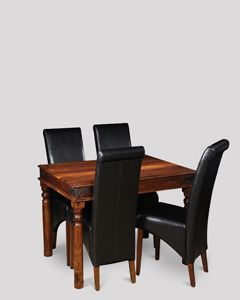 Small Jali Dining Table & 4 Rollback Chairs