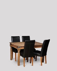 Small Jali Natural Dining Table and 4 Barcelona Chairs
