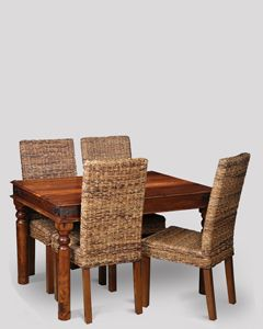 Small Jali Dining Table & 4 Havana Chairs