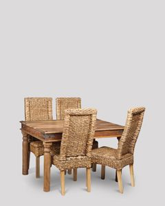 Small Jali Natural Dining Table and 4 Rattan Dining Chairs