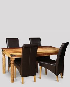 Jali Light Dining Table & 4 Rollback Chairs