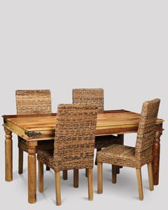 Jali Light Dining Table & 4 Rattan Chairs