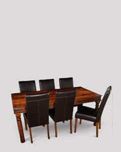 Large Jali Dining Table & 6 Rollback Chairs