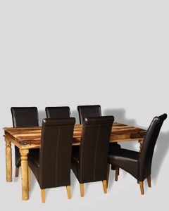 Large Jali Light Dining Table & 6 Rollback Chairs