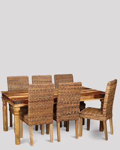 Large Jali Light Dining Table & 6 Rattan Dining Chairs