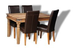 Jali 120cm Dining Table and 4 Barcelona Chairs