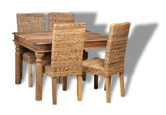 Jali Natural 120cm Dining Table and 4 Rattan Chairs