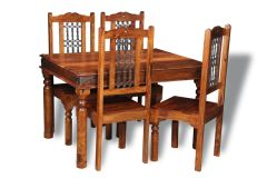 Jali 120cm Dining Table & 4 Jali Dining Chairs
