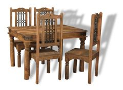 Jali Natural 120cm Dining Table and 4 Jali Dining Chairs