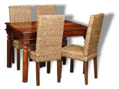 Small Jali Dining Table & 4 Rattan Chairs