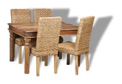 Jali Natural 120cm Dining Table and 4 Rattan Dining Chairs