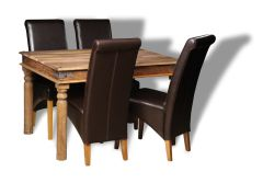 Small Jali Natural Dining Table & 4 Rollback Chairs