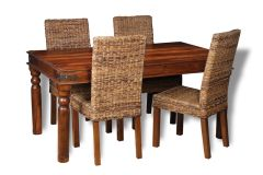 Jali 160cm Dining Table & 4 Rattan Chairs