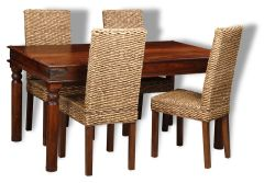 Jali Dining Table & 4 Rattan Dining Chairs
