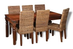 Large Jali Dining Table & 6 Rattan Chairs