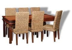 Large Jali Dining Table & 6 Rattan Dining Chairs